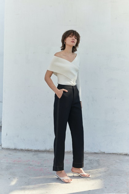 Viktoria Chan Viola Trousers With Side Lines In Black