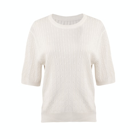 Viktoria Chan Bea Cable Knit Top In White