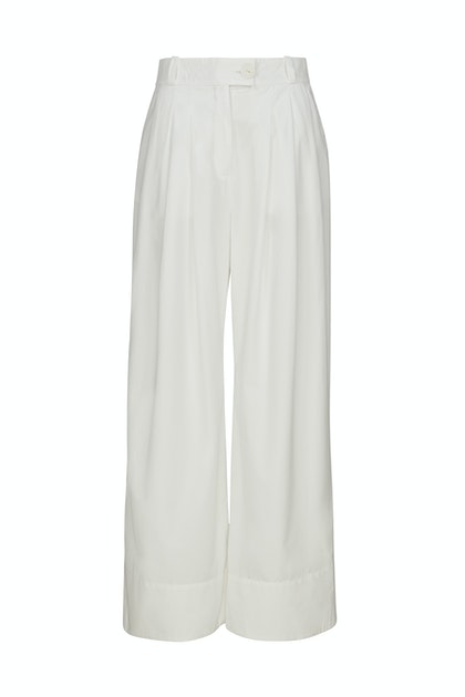 A-line Wide Leg Pleated Cotton Trousers In White