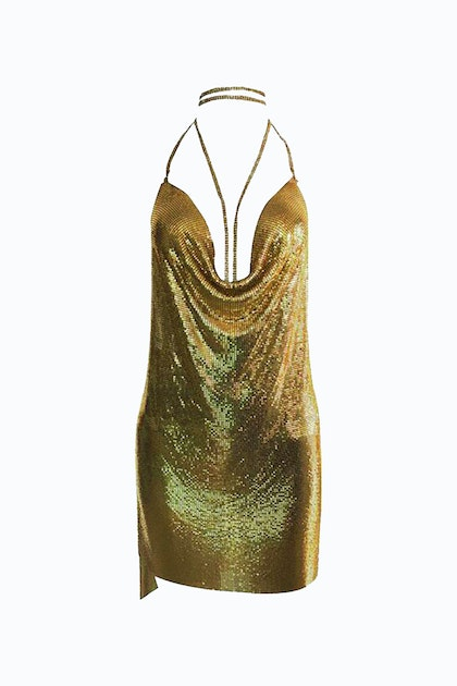 Dan More Gold Jewels Metal Mini Dress