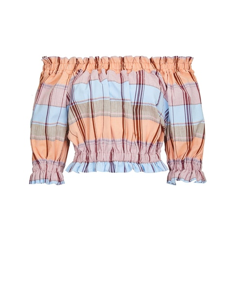 Paper London Puff Top In Castles Made Of Sand In Multi Color